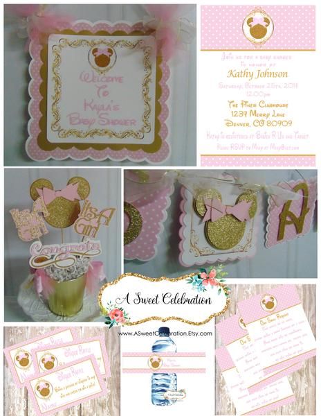 MINNIE MOUSE BABY SHOWER PARTY PACKAGE