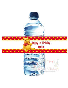 WINNIE THE POOH RED - WATERPROOF WATER BOTTLE LABEL