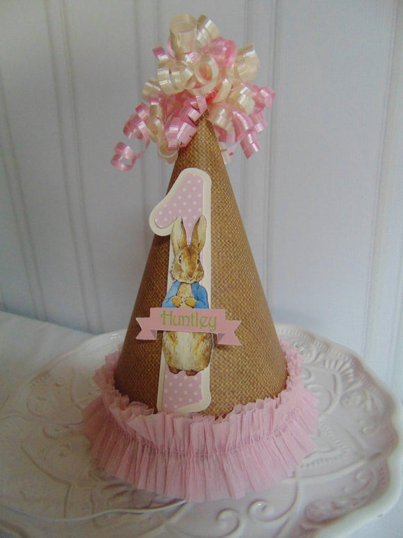 PETER RABBIT BURLAP - HAPPY BIRTHDAY PARTY HAT