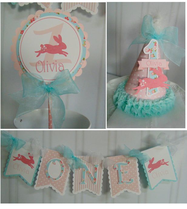 SHABBY CHIC BUNNY - SMASH CAKE -1ST BIRTHDAY PARTY PACKAGE