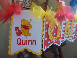 WINNIE THE POOH RED HIGH CHAIR BANNER