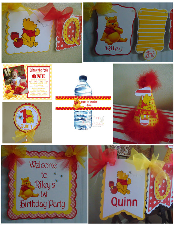 WINNIE THE POOH RED - 1ST BIRTHDAY PARTY PACKAGE