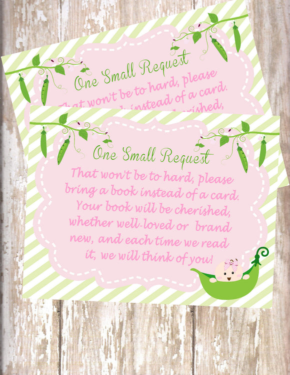 SWEET PEA - BABY SHOWER - PRINTABLE BOOK REQUEST CARD