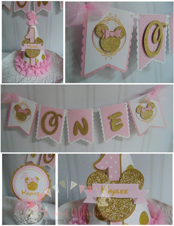 MINNIE MOUSE PINK & GOLD SMASH CAKE BIRTHDAY PARTY PACKAGE