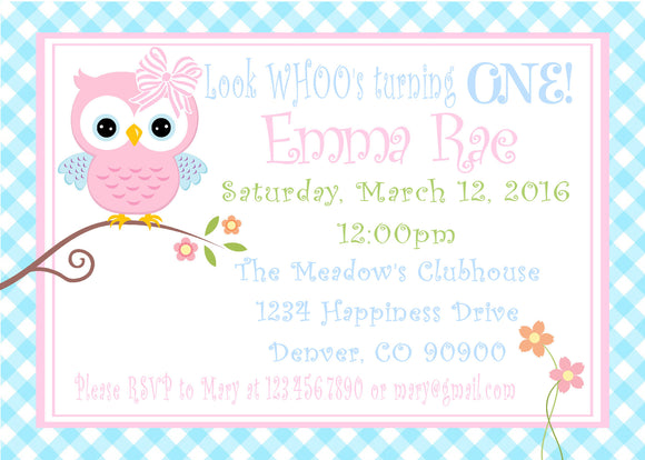 OWL - PRINTABLE BIRTHDAY INVITATIONS - FREE MATCHING THANK YOU