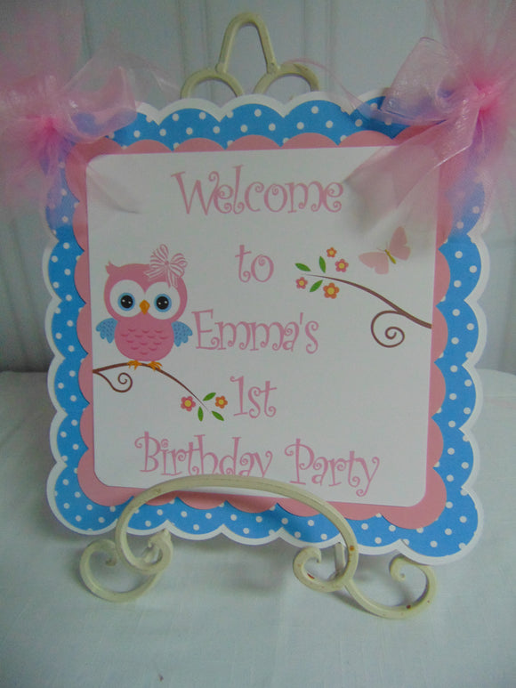 OWL HAPPY BIRTHDAY -  DOOR BANNER