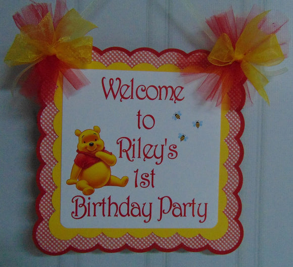 WINNIE THE POOH RED BIRTHDAY - WELCOME  DOOR BANNER