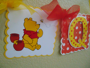 WINNIE THE POOH RED HAPPY BIRTHDAY BANNER