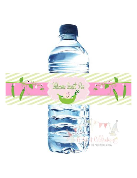 SWEET PEA - PRINTABLE WATER BOTTLE LABELS - HAPPY BIRTHDAY - BABY SHOWER