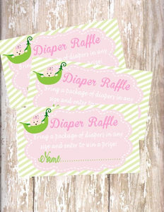 SWEET PEA - BABY SHOWER - PRINTABLE DIAPER RAFFLE CARDS