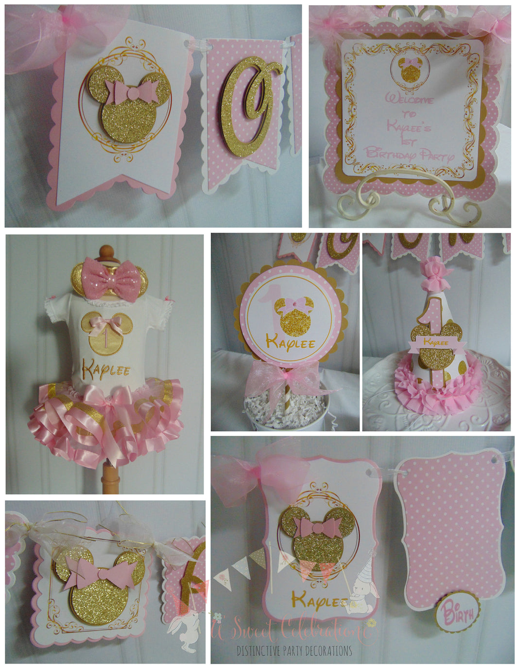 MINNIE MOUSE PINK & GOLD 1st BIRTHDAY PARTY PACKAGE