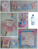 OWL 1ST BIRTHDAY  BIRTHDAY PARTY PACKAGE