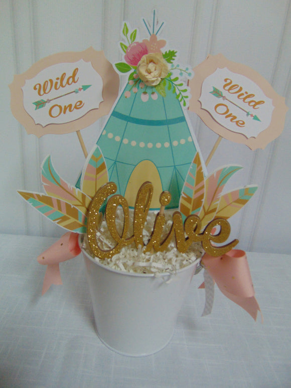 WILD ONE - BOHO - TRIBAL BIRTHDAY CENTERPIECE