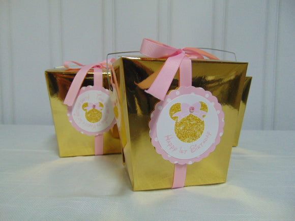 MINNIE MOUSE PINK & GOLD FAVOR BOXES