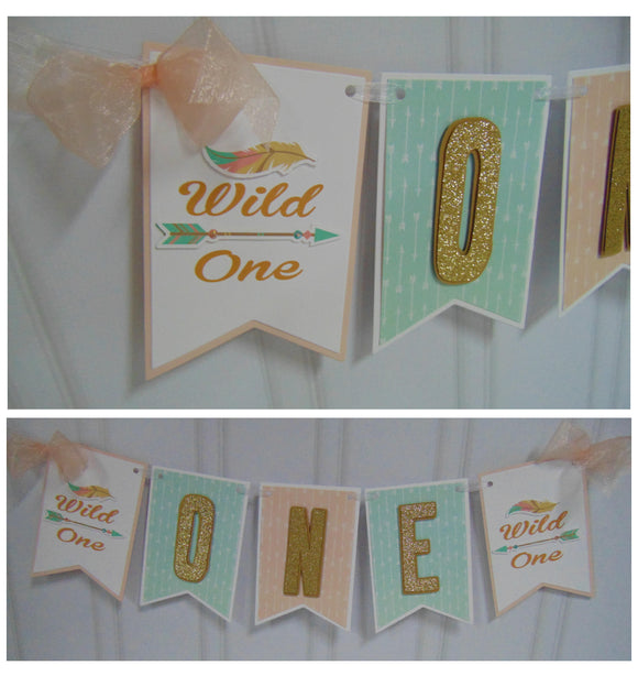WILD ONE - BOHO - TRIBAL HIGH CHAIR BANNER