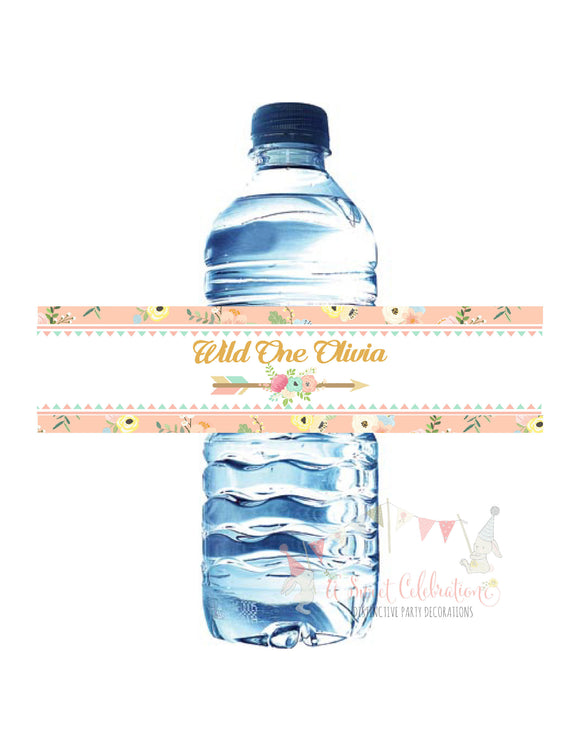 WILD ONE - BOHO - TRIBAL WATERPROOF WATER BOTTLE LABELS