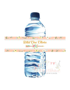 WILD ONE - BOHO - TRIBAL PRINTABLE WATER BOTTLE LABELS