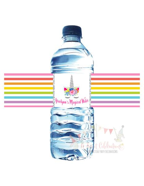 UNICORN - BRIGHTS RAINBOW - WATERPROOF WATER BOTTLE LABELS