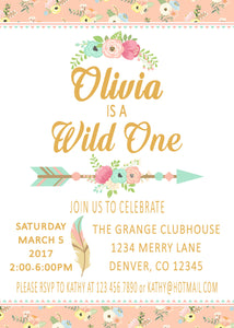 WILD ONE - BOHO - TRIBAL PRINTABLE BIRTHDAY INVITATIONS - FREE MATCHING THANK YOU