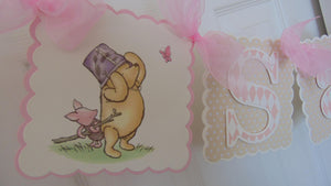 WINNIE THE POOH AND PIGLET PINK - HAPPY BIRTHDAY BANNER