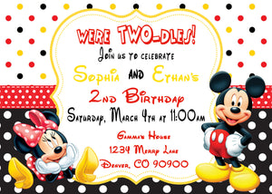 MICKEY & MINNIE MOUSE - BIRTHDAY PRINTABLE INVITATIONS - FREE MATCHING THANK YOU