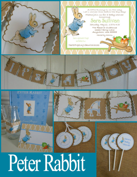 PETER RABBIT BURLAP - BABY SHOWER PARTY PACKAGE