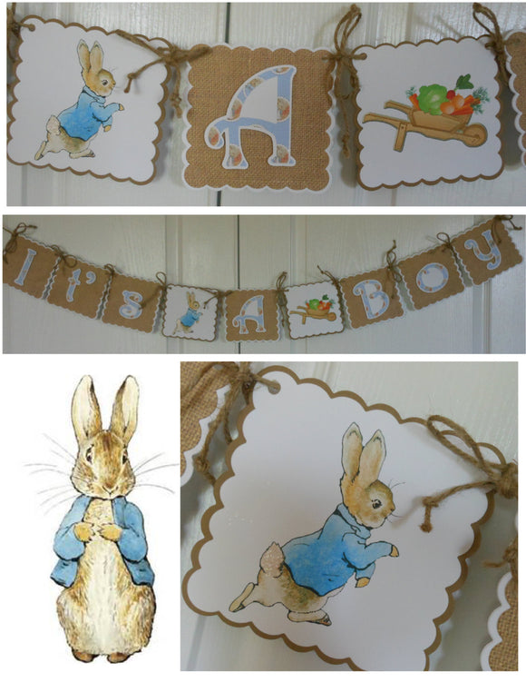 PETER RABBIT BURLAP - BABY SHOWER -