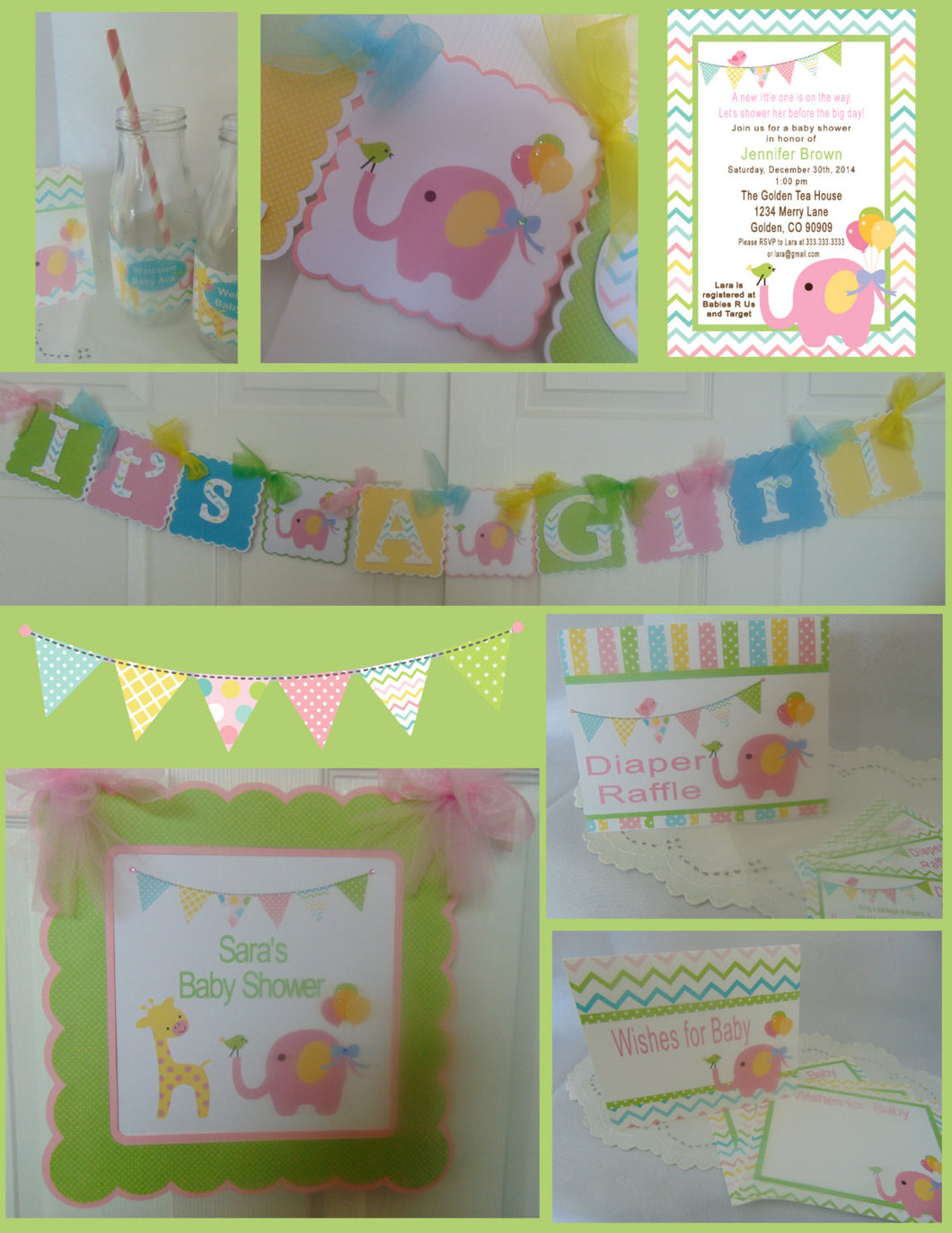 CIRCUS PINK ELEPHANT - BABY SHOWER PARTY PACKAGE