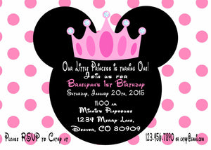 MINNIE MOUSE PRINCESS - BIRTHDAY INVITATION -JPG/PDF ONLY - FREE MATCHING  THANK YOU