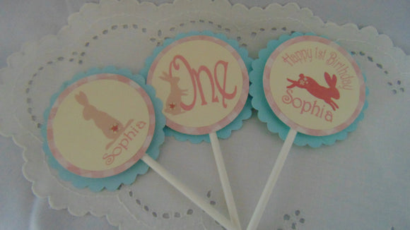 SHABBY CHIC BUNNY - CUPCAKE TOPPERS