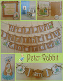 PETER RABBIT BURLAP -  HAPPY BIRTHDAY BANNER WITH NAME
