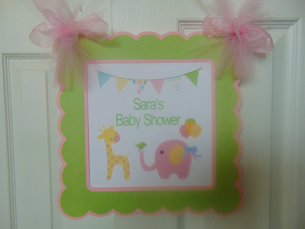 CIRCUS PINK ELEPHANT - WELCOME  DOOR  BANNER