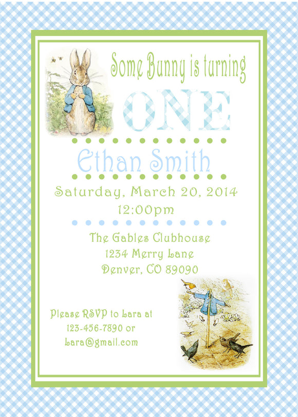 PETER RABBIT BLUE - BIRTHDAY - PRINTABLE INVITATION - FREE MATCHING THANK YOU