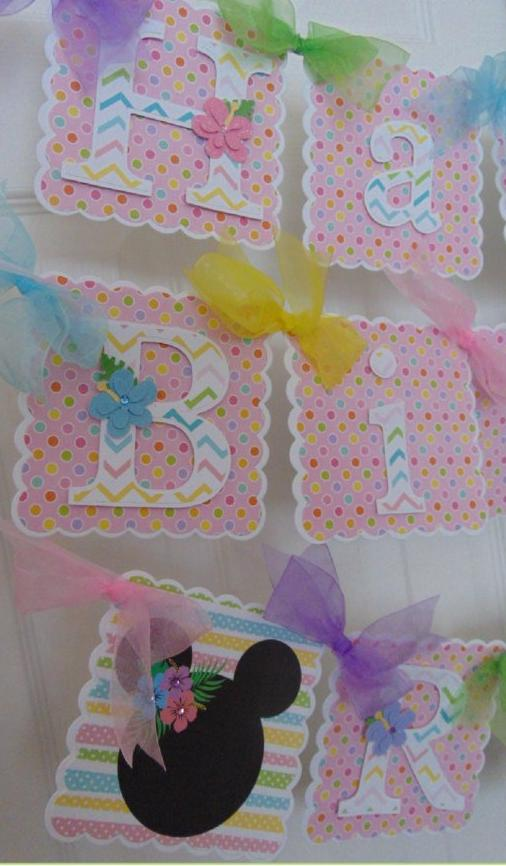 MINNIE MOUSE LUAU PASTEL - HAPPY BIRTHDAY BANNER