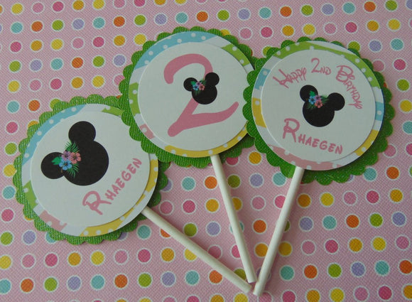 MINNIE MOUSE LUAU PASTEL - CUPCAKE TOPPERS