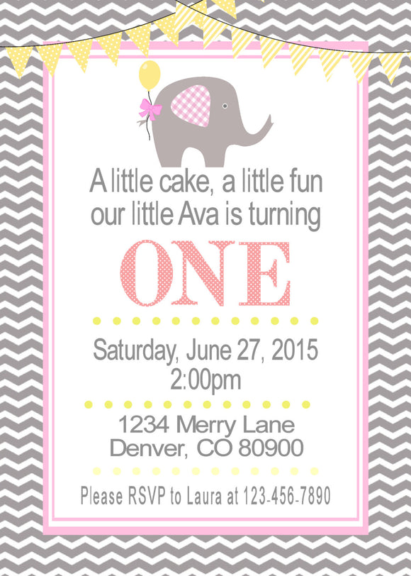 ELEPHANT - BIRTHDAY - PRINTABLE  INVITATION - FREE MATCHING THANK YOU