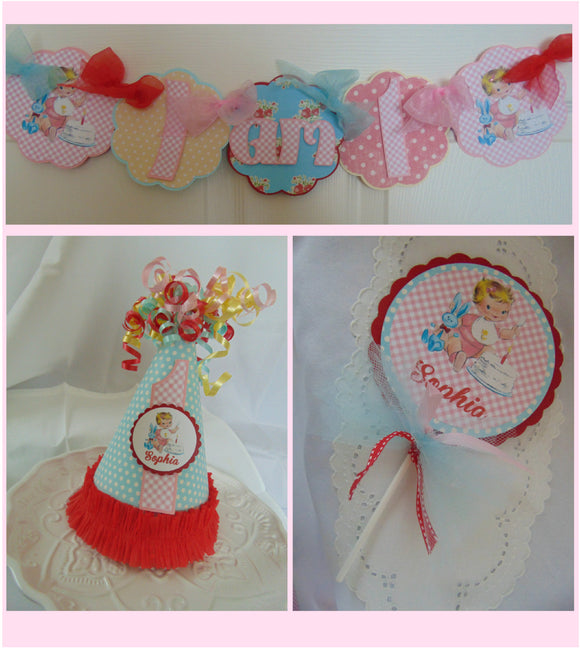 VINTAGE  - SMASH CAKE - 1ST BIRTHDAY PARTY PACKAGE