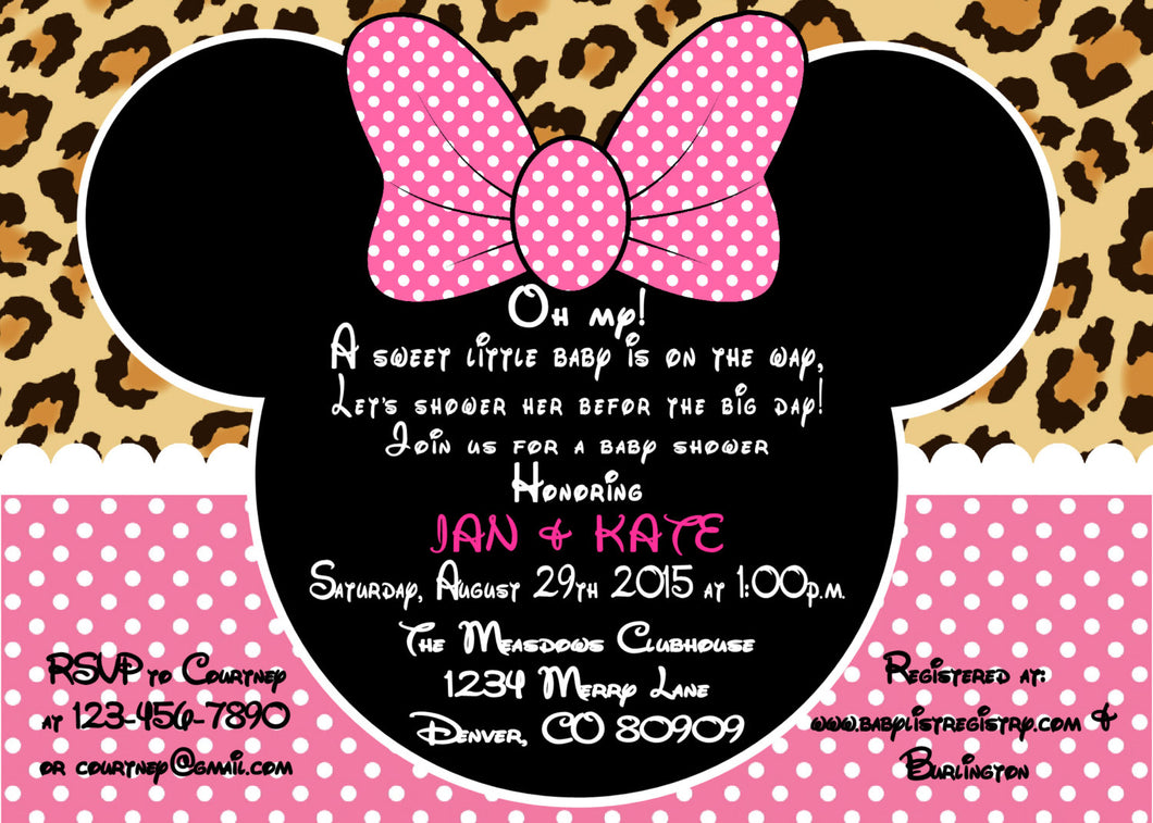 MINNIE MOUSE LEOPARD BABY SHOWER INVITATION
