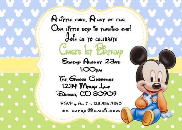 MICKEY MOUSE BABY - BIRTHDAY INVITATION - JPG/PDF ONLY