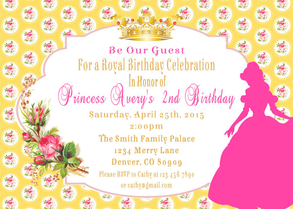 BEAUTY & THE BEAST - PRINCESS - PRINTABLE BIRTHDAY INVITATIONS - FREE MATCHING THANK YOU