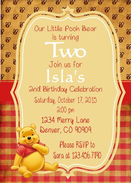 WINNIE THE POOH VINTAGE - PRINTABLE BIRTHDAY INVITATION - FREE MATCHING THANK YOU