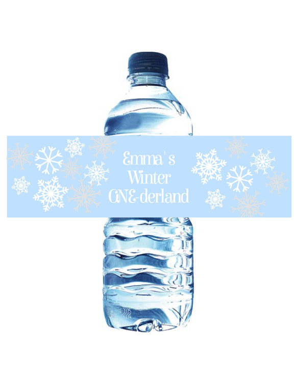 WINTER ONE-DERLAND BLUE - PRINTABLE WATER BOTTLE LABEL - JPG/PDF