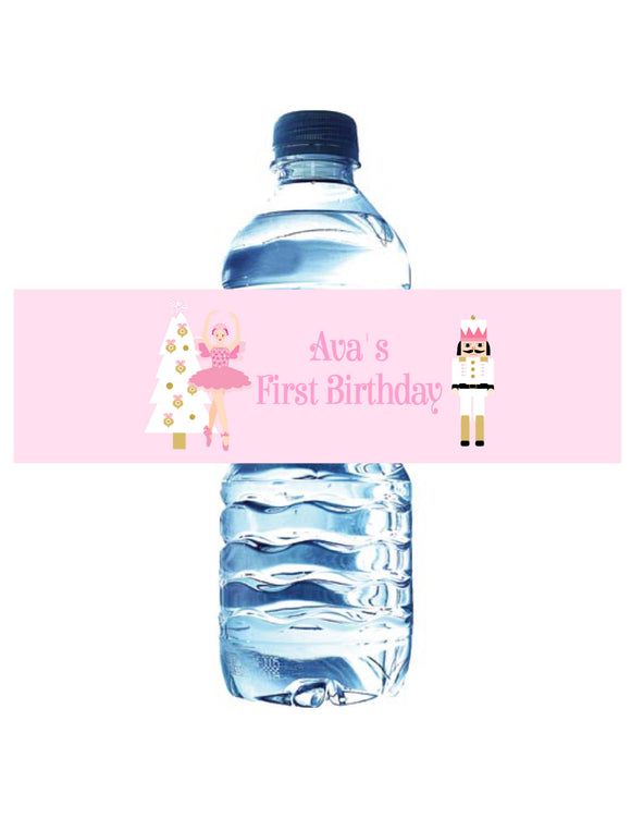 NUTCRACKER BALLET PASTEL PINK - WATERPROOF WATER BOTTLE LABELS