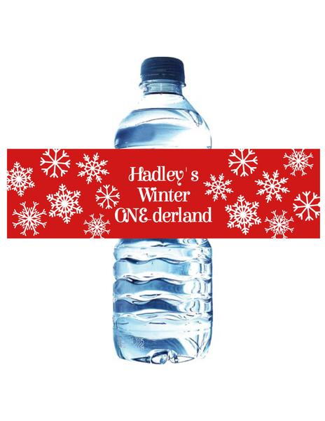 WINTER ONE-DERLAND RED - WATERPROOF WATER BOTTLE LABEL
