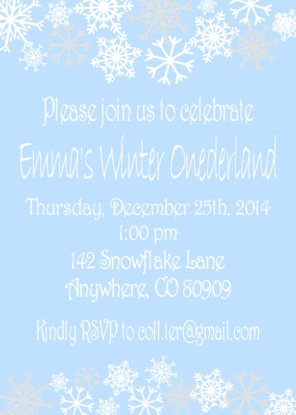 WINTER ONE-DERLAND BLUE - PRINTABLE  BIRTHDAY INVITATIONS - FREE MATCHING THANK YOU