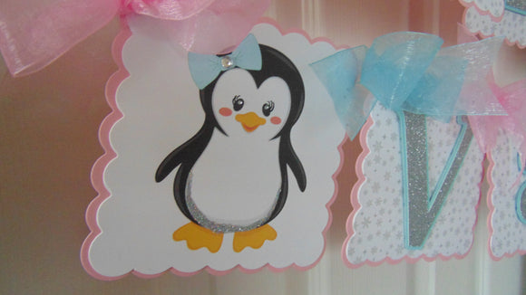 PENGUIN WINTER ONEDERLAND BIRTHDAY BANNER