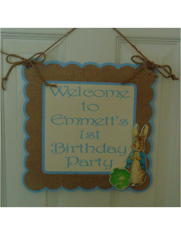 PETER RABBIT BURLAP - DOOR BANNER