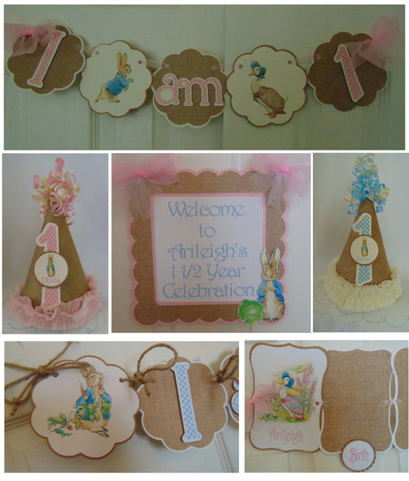 PETER RABBIT BURLAP - PETITE -1ST BIRTHDAY PARTY PACKAGE