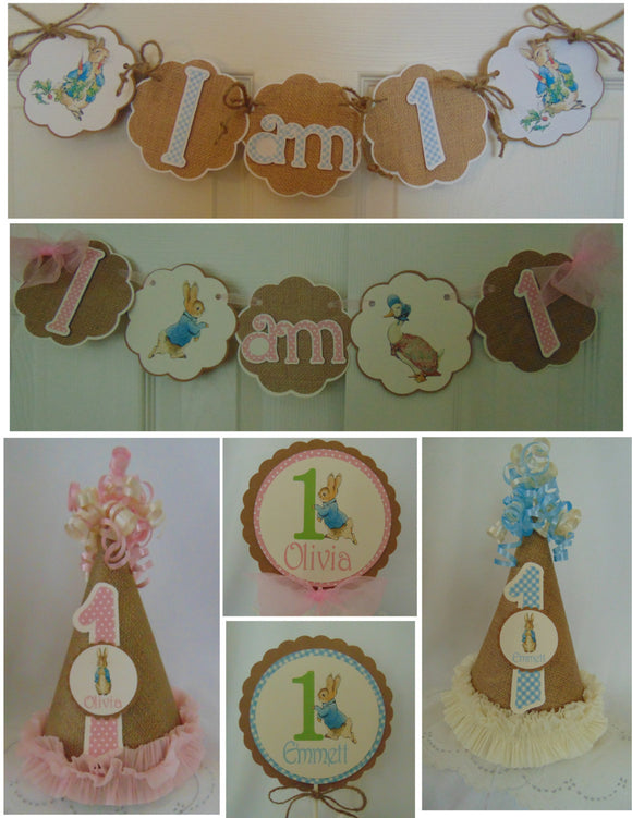PETER RABBIT BURLAP - SMASH CAKE - 1st BIRTHDAY PARTY PACKAGE