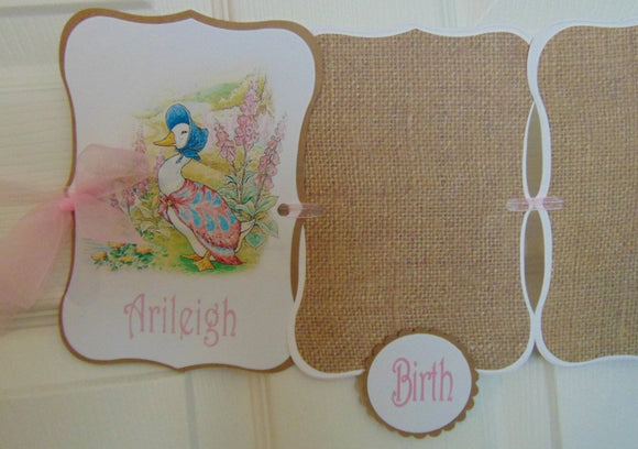 PETER RABBIT BURLAP - BIRTHDAY 12 MONTH PHOTO BANNER - 1ST YEAR MILESTONE BANNER